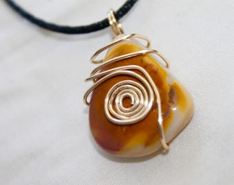 Healing Spiral Mookalite Heady Gold Wire Wrapped Necklace
