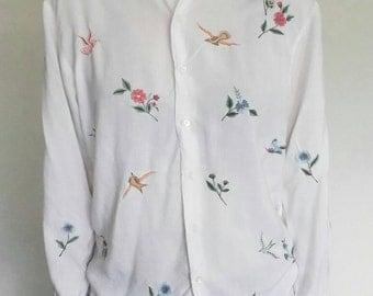 Vintage Floral Humming Bird Blouse