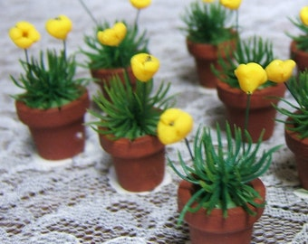 Fairy Garden Yellow Flowers 12th Scale Dollhouse Miniature