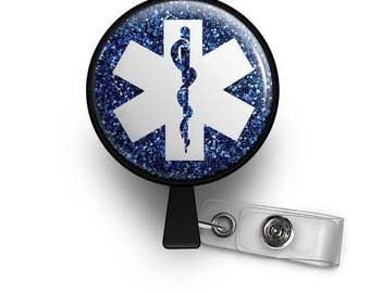 Sparkling Star of Life Retractable ID Badge Reel