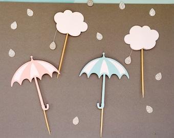 Umbrella Cupcake Toppers   Rain Cupcake Toppers   Glitter Cupcake Toppers   Baby Shower Cupcake Toppers   Shower Theme Cupcake Toppers