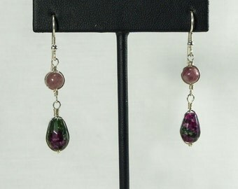 Tantalizing, Hand Crafted Ruby Zoisite and Lepidolite Flower Plume Earrings by Forever Dragonfly/Gifts for Her/Special Occasion Gift
