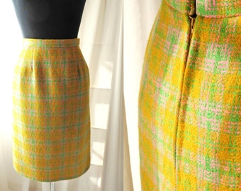 1950s 1960s skirt/50s early 1960s plaid wool skirt yellow chartreuse pink tweed pencil skirt xxs xs