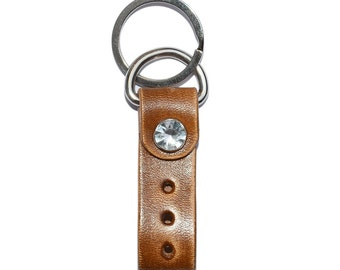 Walnut Leather Key Chain / Leather Key Holder, Leather Key Fob, Mens Keychain / Keychain Wristlet, Key Ring Holder, Key Fob Wristlet