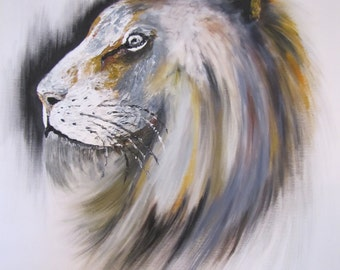 Painting Lion original oil Painting on canvas, , Modern Art , By TOMER SHARABANI