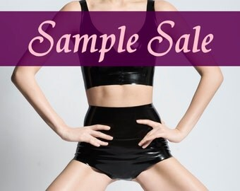 Black latex panty high waist - size small - sample sale - ready to ship