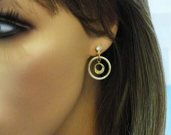 Hoop Earrings, CZ Earrings, Gold Earrings, Geometrical Earrings, Circle Earrings, Circle Pendant, Stud Earrings, CZ Stud Earrings, EMAN 56
