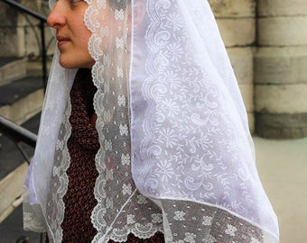 Lace Scarf for Mass / Church headcovering / Veil for Worship / Lace Veil Mantilla / Veil for Weddings / Mantilla for Communion / Church Veil