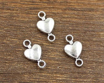 50pcs Heart Connector Charms Antique Silver Tone Double Side 9x15mm - SH450