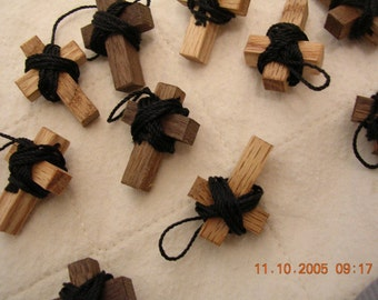 100 Small Wooden Cross necklaces with lanyards