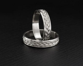 braided wedding rings his her braided band couple rings unique matching wedding bands - Wedding Rings Unique