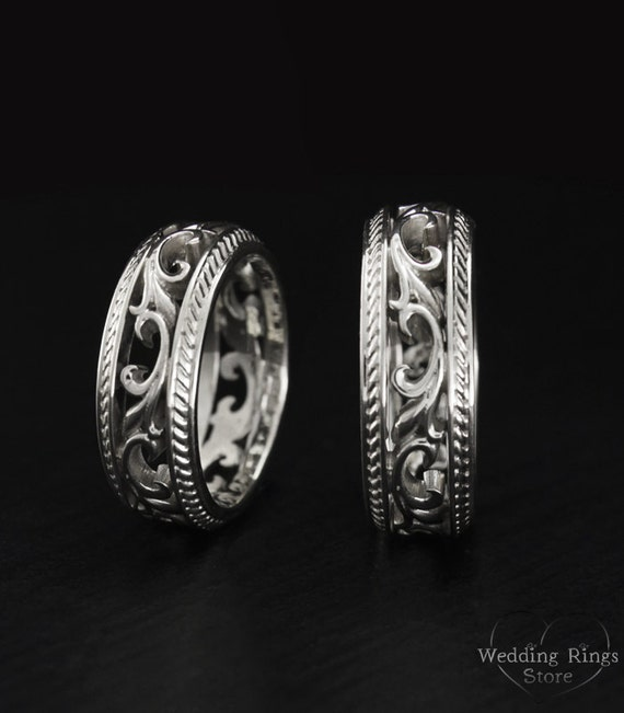 vintage style silver wedding bands nature wedding rings