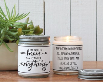 She Who Is Brave Can Conquer Anything Candle | Thinking of you gift | Inspirational Gift | Give Strength Gift | Cancer Gift | Get Well Gift