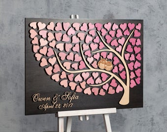 Unique wedding guestbooks alternative wedding guest book tree Owl guest book Wedding book heart Personalized guest book Pink Weddings ideas