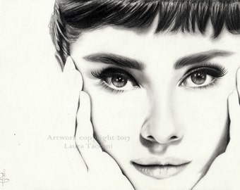 Audrey Hepburn portrait - Art print signed from an original graphite drawing