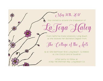Cherry Blossom Graduation Invitation