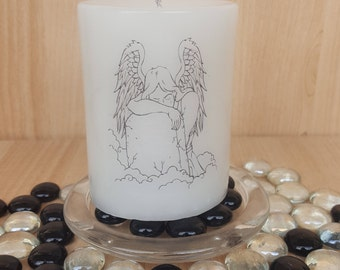 "Scented ""Weeping Angel"" pillar candle/love and loss/untimely death/mourning"