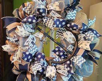Summer Wreath, Beach Wreath, Nautical Wreath, Burlap Wreath