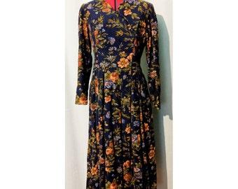 Laura Ashley Blue Corduroy Floral Print Dress