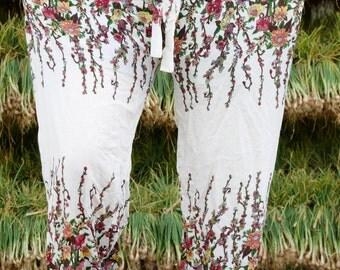 Floral pants Thai fabric Festival fabric Bohemian wedding Womens palazzo pants Gypsy fabric Hippie fashion