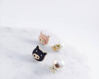 Pig earrings; oink; piggy accessories; pig accessories; pig pierce; two sided earring