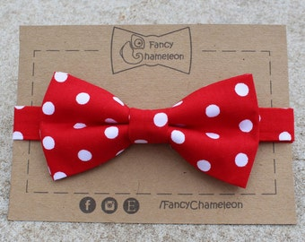 Red and White Polka Dot Bow-tie, adjustable pre-tied bowtie, mens and boys bow-tie