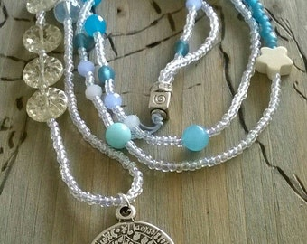 Long chain - glass beads - jade - coin pendant