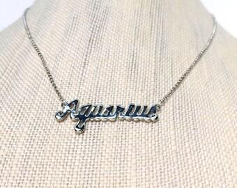 Aquarius Zodiac Silver Necklace, Silver Zodiac Necklace, Zodiac Name Plate, Delicate Layered Necklace , Layered Necklace, 80's Throwback