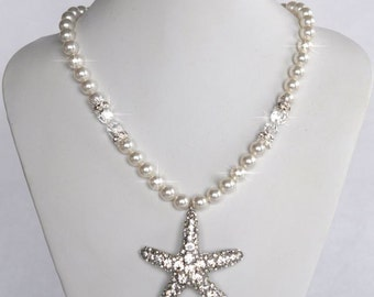 Handmade Pearl & Crystal Rhinestone Starfish Necklace, Destination, Beach Wedding (Pearl-376)
