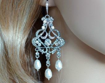 Handmade Vintage Inspired Crystal Rhinestone and Pearl Chandelier Earrings, Bridal, Wedding (Pearl-298)