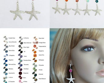 Choose Your Colour -- Starfish Crystal Dangle Earrings With Accent Colour, Bridal, Destination or Beach Wedding (Sparkle-2651)