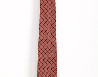 Vintage 1950s Salmon and Black Weave Crop Tie Rockabilly VLV Mad Men
