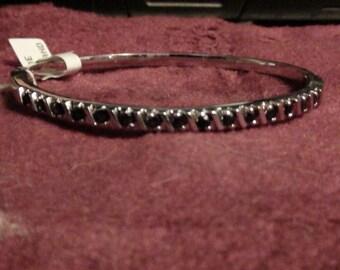 vintage sterling silver and sapphire bangle bracelet
