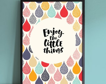Enjoy The Little Things Typography Quotes Kids Nursery Print