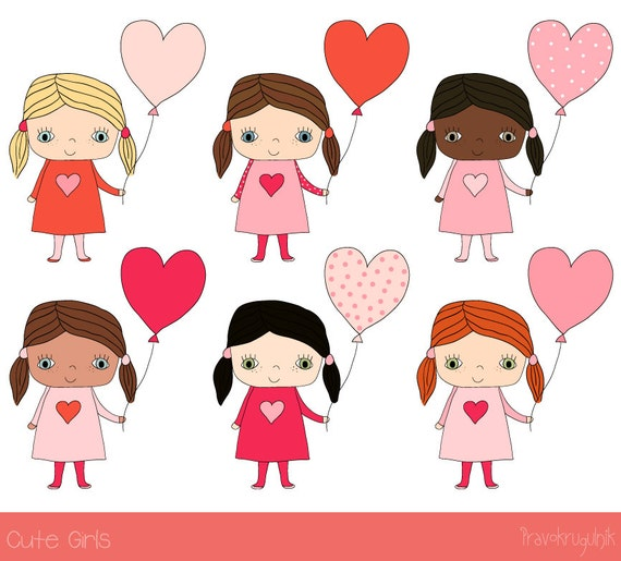 Cute girl clipart Kawaii girl clip art Hand drawn children