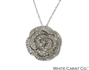 0.25 CT. Flower Blossom Diamond Pendant in 14K White Gold (Chain Included)