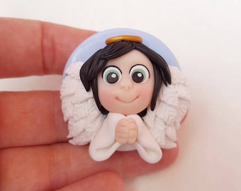 Guardian Angel in polymer clay with black hair and green eyes to hang or magnet-polymer clay guardian angel
