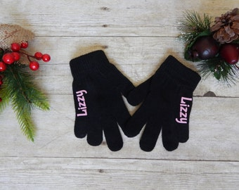 Black personalized adult gloves,personalized gloves,winter gloves,gloves for adults,custom gloves,womens winter gloves,mens winter gloves