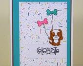 King Charles Card, King Charles Cavalier Birthday Card, King Charles Cavalier Celebrate, Dog Birthday Card