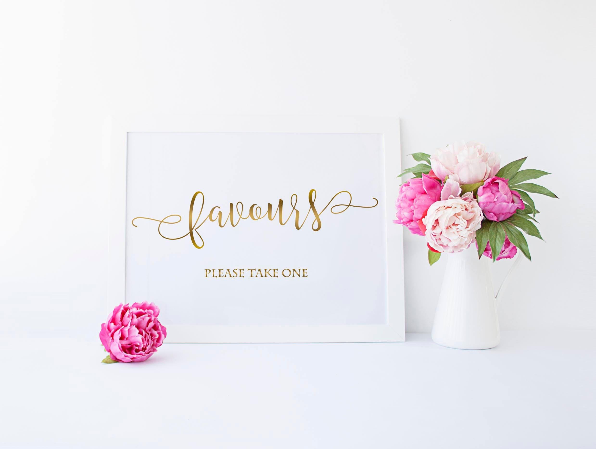 Wedding Favours Gold Sign - Wedding Favour - Wedding Thankyou ...