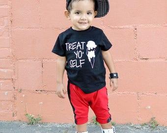 Treat yo self ice cream shirt, ice cream shirt for boys, ice cream shirt for girls, kids ice cream shirt, WHITE  design