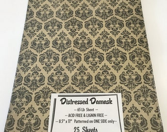 Distressed Damask Printed Patterned Cardstock Paper 8.5 x 11 25 sheets