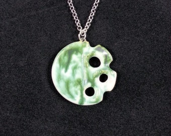 Unique Handmade Green & White Glazed Ceramic Pottery Clay Pierced Pendant with Silver Chain Necklace