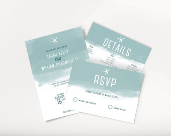 No. 15 | Printable 5 x 7 Wedding Invitation | 5 x 3.5 RSVP | 5 x 3.5 Details Card | Destination Wedding | Beach