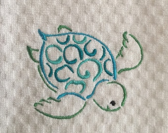 NEW Sea Turtle Embroidered Kitchen Towel