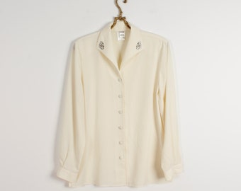 Ivory White Blouse Champagne Shirt Secretary's Blouse Embroidered Collar Blouse Creamy Long Sleeves Blouse Silky Ivory Blouse Size Medium