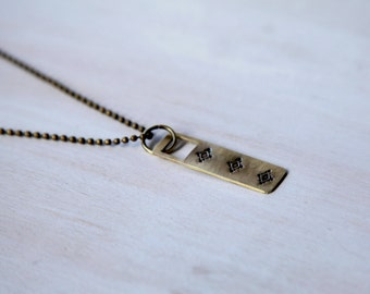 Men's Stamped Dog Tag Necklace, Men's Brass Necklace, Men's Long Necklace, Men's Boho Necklace, Simple Necklace, Ball Chain Necklace