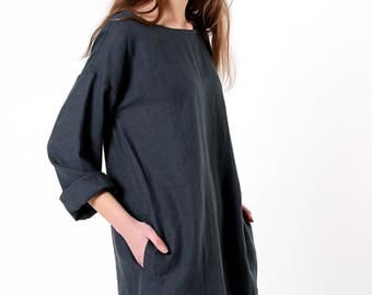 Linen Tunic,  Charcoal Linen Tunic Dress, Linen Tunic long sleeves, Natural Linen Tunic, Charcoal Linen Tunic Dress, Loose Linen Tunic