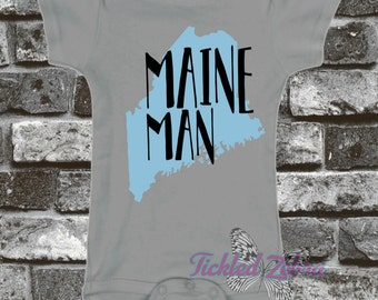 Maine ME - Maine Man - Home State Baby Bodysuit, Toddler, Youth Shirt  Lobster - Love - Baby Blue, White, Gray, Baby Shower Gift, Boy, Girl