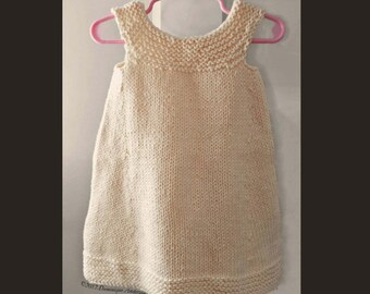 Handknit 100 % cotton girl sundress
